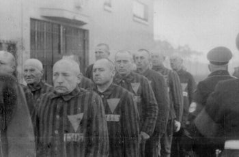 Prisoners in the Sachsenhausen concentration camp, Germany.