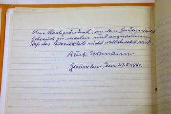 A handwritten request for clemency by Adolf Eichmann, revealed on January 27, 2016.