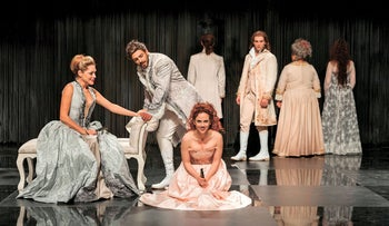 Osnat Fishman, left, as the marquise and Aviv Alush, second left, as Valmont in 'Dangerous Liaisons.'
