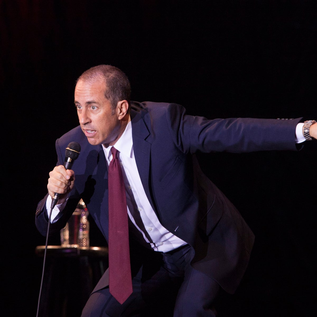 Jerry Seinfeld, American star comedian, performs at Menora Stadium in Tel Aviv, Israel, Saturday, Dec. 19, 2015.