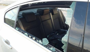 MK Haim Jelin's car, after it was stoned in the West Bank, January 28, 2016.