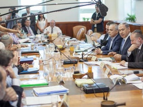 Prime Minister Benjamin Netanyahu, second from right, at the cabinet meeting on July 5, 2015.