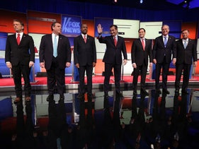 John Kasich, Jeb Bush, Marco Rubio, Ted Cruz, Ben Carson, Chris Christie and Rand Paul at the Fox News debate, Jan. 28, 2016.