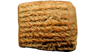 One of the clay cuneiform tablets found in Babylonia and Uruk, showing geometrical calculations for planetary trajectories.