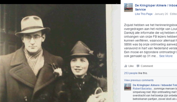 A screenshot of a Facebook post by the Kringloper Almere thrift shop, showing a photo from the couple's wedding book.