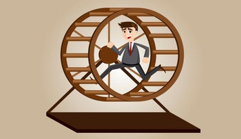 Illustration showing a guy in a hamster wheel.