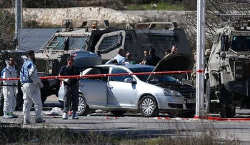 Scene of the shooting attack outside West Bank settlement of Beit El, January 31, 2016.