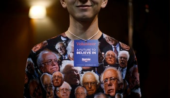 A volunteer at a Bernie Sanders campaign event wears a shirt decorated with Sanders' image in Fort Dodge, Iowa, United States, January 19, 2016.