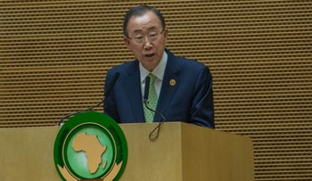 UN Secretary General Ban Ki-moon delivers a speech during the opening ceremony of the 26 ordinary of the African Union Summit in Ethiopian capital Addis Ababa, on January 31, 2016.