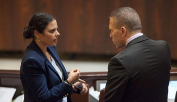 Israel Justice Minister Ayelet Shaked, who initiated the NGO bill, with Likud MK Gilad Erdan in the Knesset.