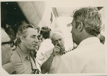 Defense Minister Shimon Peres, left, with Prime Minister Yitzhak Rabin, following the IDF hostage-rescue mission in Entebbe, on July 4, 1976.