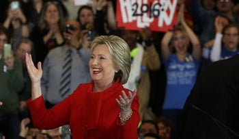 Democratic presidential candidate former Secretary of State Hillary Clinton greets supporters on February 1, 2016 in Des Moines, Iowa.
