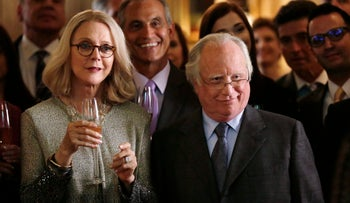 """In this image released by ABC, Blythe Danner, left, and Richard Dreyfuss appear in the primetime miniseries """"Madoff,"""" airing in the U.S. during the first week of February, 2016."""