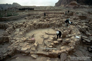 The ancients who lived in Shkārat Msaied 9,000 years ago built large round stone houses, 3 to 8  meters in diameter - inside which they buried their dead in collective graves of a type not seen before.