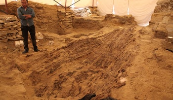 60-foot long boat dating to ca. 2550 BCE found inside the Old Kingdom cemetery at Abusir,