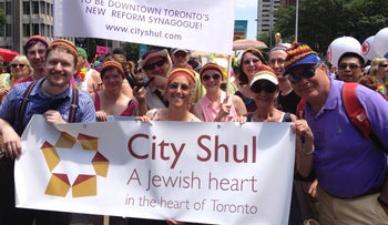 City Shul's Rabbi Elyse Goldstein (front row, second from left) marches with her congregation.