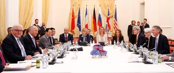 Leaders of world powers meet to discuss Iran nuclear deal on July 9, 2015.