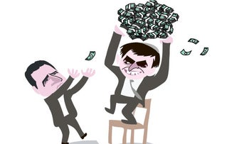 An illustration depicting Minister Elkin holding a pile of money out of MK Odeh's reach.