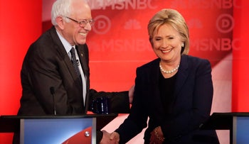 Democratic candidates Sen. Bernie Sanders, Vermont, and Hillary Clinton shake hands after a Democratic presidential primary debate hosted by MSNBC at the University of New Hampshire Thursday, Feb. 4, 2016, in Durham, N.H.