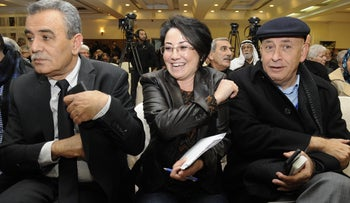 File Photo: MKs Basel Ghattas, Haneen Zoabi and  Jamal Zakalka from the Joint Arab List's Balad faction.