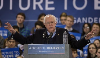 Senator Bernie Sanders, an independent from Vermont and 2016 Democratic presidential candidate, speaks during a campaign rally at the Franklin Pierce University Fieldhouse in Rindge, New Hampshire, U.S., on Saturday, Feb. 6, 2016.