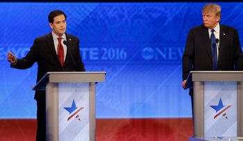 Marco Rubio and Donald Trump at the Republican presidential debate in Manchester, New Hampshire, Feb. 6, 2016.
