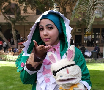 Participants in the EgyCon convention in Cairo dressed as anime characters.