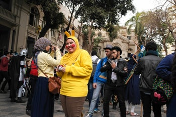 Participants in the EgyCon convention in Cairo dressed up as anime characters.