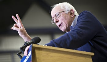Senator Bernie Sanders, an independent from Vermont and 2016 Democratic presidential candidate, speaks during a campaign event in Portsmouth, New Hampshire, U.S., on Sunday, Feb. 7, 2016.