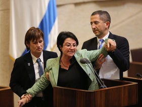 MK Haneen Zoabi being removed from the podium at the Knesset, February 8, 2016.
