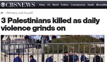 The CBS News headline on the story describing the stabbing attack by three Palestinians on Israeli border policewoman Hadar Cohen, at Nablus Gate in the Old City of Jerusalem, on February 3, 2016. The headline was subsequently changed.