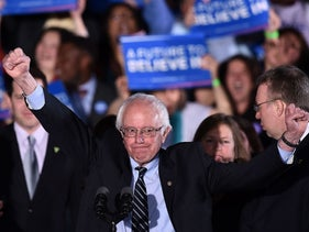 Bernie Sanders after winning the New Hampshire primary, Concord, New Hampshire, Feb. 9, 2016.