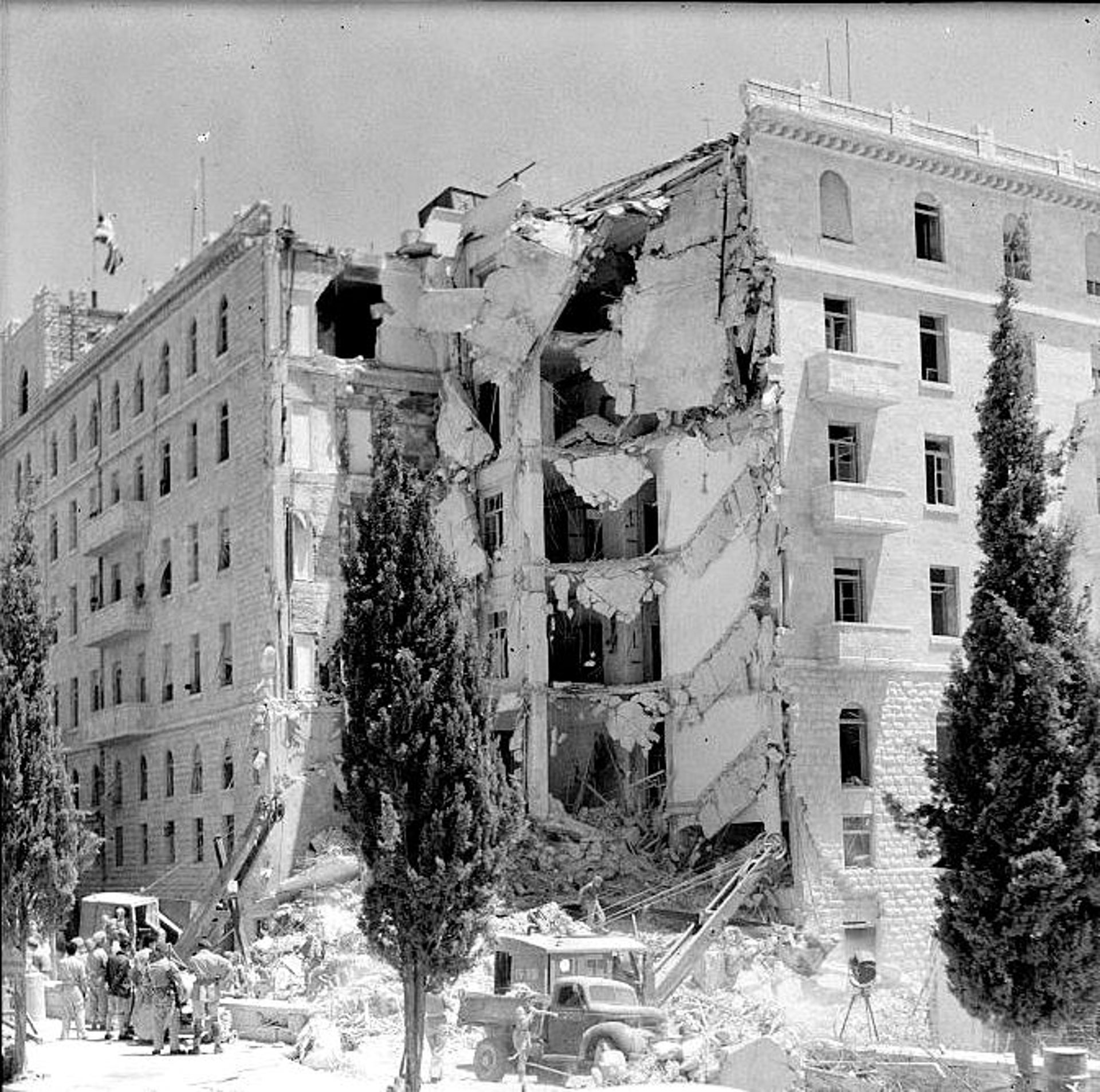 The destruction after the 1946 bombing of Jerusalem's King David Hotel.