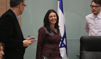 Miri Regev, center, at a meeting of the Knesset Education Committee in Jerusalem, January 27, 2016.