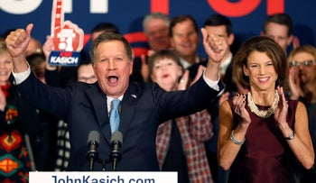 John Kasich after the New Hampshire primary in Concord, New Hampshire, Feb. 9, 2016.