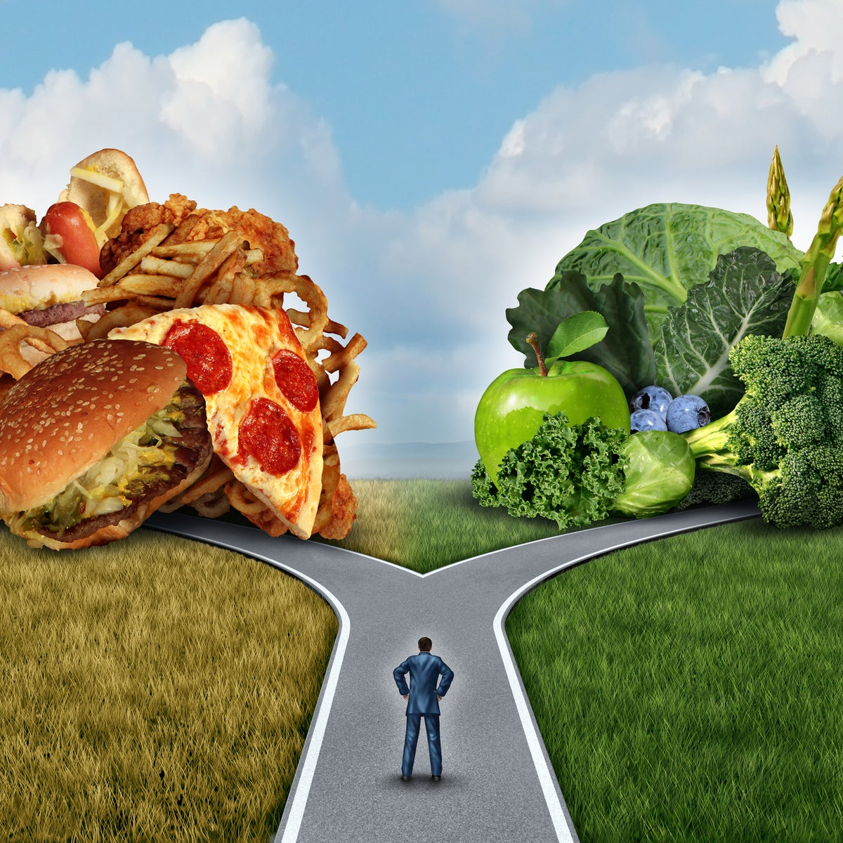 Illustrative image showing a man at a diet crossroads. He is to choose between a pile of junk food and vegetables.