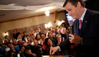 Senator Ted Cruz gestures during a primary watch party in Hollis, New Hampshire, February 9, 2016.