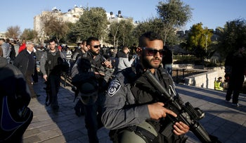 Israeli policemen patrol an area near Jerusalem's Old City after a shooting and stabbing attack, February 3, 2016.