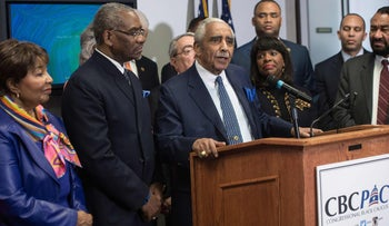 Representative Charles Rangel speaks as the Congressional Black Caucus Political Action Committee (CBCPAC) announces its endorsement of Hillary Clinton for president, February 11, 2016.