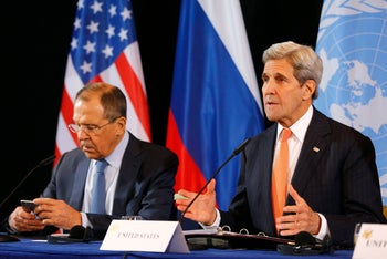 U.S. Secretary of State John Kerry and Russian Foreign Minister Sergey Lavrov attend a news conference after the International Syria Support Group (ISSG) meeting in Munich, Germany, Feb. 12, 2016.