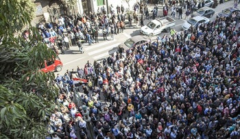 Egyptian doctors gather to protest against police abuses, Cairo, February 12, 2016.