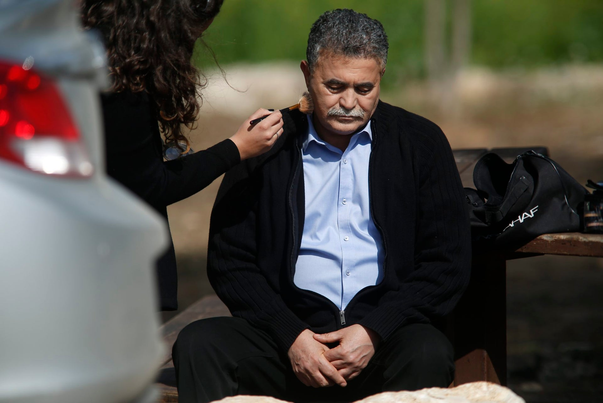 MK Amir Peretz preparing for an interview near the border between Israel and the Gaza Strip, February 6, 2016.