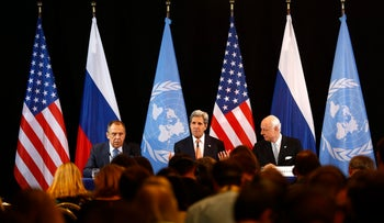 Russian Foreign Minister Sergey Lavrov (left), U.S. Secretary of State John Kerry and UN Special Envoy for Syria Staffan de Mistura speak at international talks on Syria in Munich on Feb. 12, 2016.