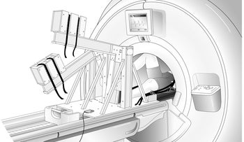 Stepper invented by Prof. Naomi Chesler and team, that can be used with MRI machines because it isn't made out of a ferrous metal that would disrupt the scanner.