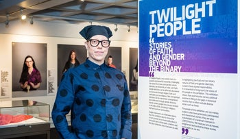 """Photographer Christa Holka at the opening of the """"Twilight People"""" exhibition in Islington, North London on February 5, 2016."""