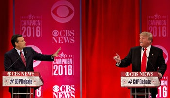 Senator Ted Cruz and Donald Trump trade words at a GOP primary debate on February 13, 2016.
