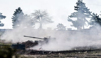 Turkish artillery shoots in the Syrian direction, in south-central Turkey, February 15, 2016.