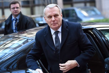 French Foreign Minister Jean-Marc Ayrault arrives to attend an EU foreign affairs council at the European Council, Feb. 15, 2016.