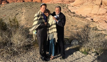 Rabbi Mel Hecht marries Craig Silver and Karen Butt of Connecticut at Red Rock Canyon near Las Vegas, February 12, 2016.