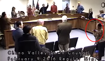 "Invocation, Town of Chino Valley, Arizona Council Meeting. 'Plotkin acted ""inappropriately"" in disrupting the council meeting and the mayor was ""within his rights"" to have her removed'."